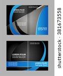 vector empty bi fold brochure... | Shutterstock .eps vector #381673558