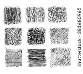 set of 9 hand drawn scribble... | Shutterstock .eps vector #381680965