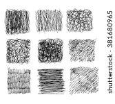 set of 9 hand drawn scribble... | Shutterstock .eps vector #381680965