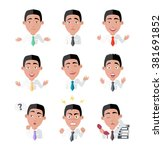 emotion and avatar. variety of... | Shutterstock .eps vector #381691852
