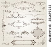 vintage frames and scroll... | Shutterstock .eps vector #381699388