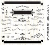 vintage frames and scroll... | Shutterstock .eps vector #381708778