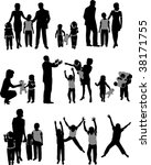 vector silhouettes of parents... | Shutterstock .eps vector #38171755