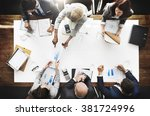 business people analyzing... | Shutterstock . vector #381724996