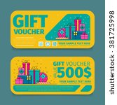 gift voucher template with... | Shutterstock .eps vector #381725998