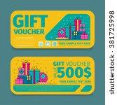 gift voucher template. two side ...   Shutterstock .eps vector #381725998
