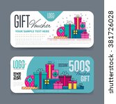 gift voucher template. with... | Shutterstock .eps vector #381726028