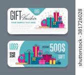 gift voucher template. with...   Shutterstock .eps vector #381726028