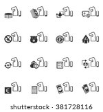 hand and money icon set for web ... | Shutterstock .eps vector #381728116