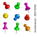 drawing pin. thumbtack.   Shutterstock .eps vector #38173240