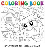 coloring book lurking cow near... | Shutterstock .eps vector #381734125