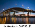 bridge with sunset | Shutterstock . vector #381739192