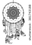 hand drawn native american... | Shutterstock .eps vector #381743188
