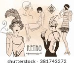 retro coloring book for kids... | Shutterstock .eps vector #381743272