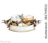watercolor food   cheese board | Shutterstock . vector #381745012