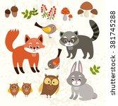 set of cute forest animals. fox ... | Shutterstock .eps vector #381745288