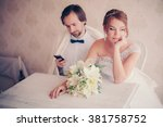 the bride upset the groom is... | Shutterstock . vector #381758752
