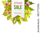 spring sale paper emblem with... | Shutterstock .eps vector #381772306