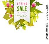 spring sale paper emblem with... | Shutterstock .eps vector #381772306