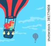 vector girl in a balloon   Shutterstock .eps vector #381774808