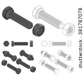 screw bolt nut set drawing | Shutterstock .eps vector #381787078