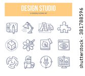 doodle line icons of design... | Shutterstock .eps vector #381788596