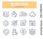 doodle line icons of design... | Shutterstock .eps vector #381788596