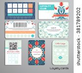 set of loyalty cards. floral... | Shutterstock .eps vector #381789202