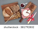 homemade rye bread brown loaf... | Shutterstock . vector #381792832