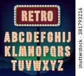retro alphabet  realistic... | Shutterstock .eps vector #381793216
