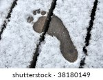 Bare Footprint In First Winter...