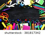 colourful stationery on black... | Shutterstock . vector #381817342