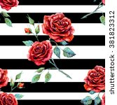 Watercolor Pattern Rose Red ...