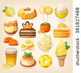 set of delicious sweets and... | Shutterstock .eps vector #381827488