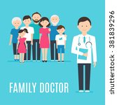 extended family and medical... | Shutterstock .eps vector #381839296