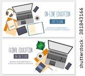 flat design banners for online... | Shutterstock .eps vector #381843166
