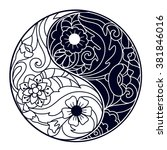 vector hand drawn yin and yang... | Shutterstock .eps vector #381846016