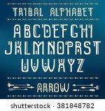 tribal alphabet. vector ethnic...   Shutterstock .eps vector #381848782