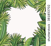 frame with tropical leaves | Shutterstock .eps vector #381853702
