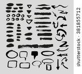 grunge set of  brush stroke ... | Shutterstock .eps vector #381855712