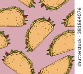 seamless pattern with mexican... | Shutterstock .eps vector #381864076