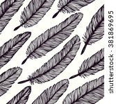 vintage feather seamless... | Shutterstock .eps vector #381869695