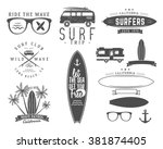 Set Of Vintage Surfing Graphics ...