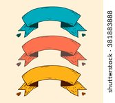 set of three colored ribbons... | Shutterstock .eps vector #381883888