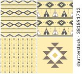 tepee seamless pattern. wigwam... | Shutterstock .eps vector #381891712