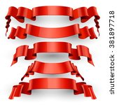 realistic red glossy ribbon set ... | Shutterstock . vector #381897718