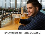 good times. portrait of a young ... | Shutterstock . vector #381906352