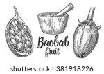 baobab fruit and seeds. mortar... | Shutterstock .eps vector #381918226