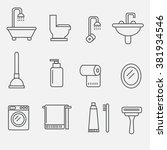 set of modern vector icons of... | Shutterstock .eps vector #381934546