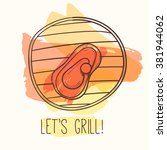 grill illustration with meat.... | Shutterstock .eps vector #381944062